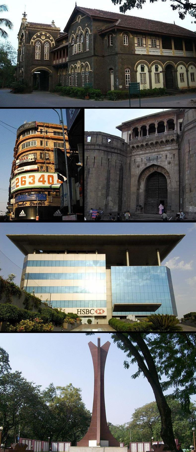 From top: Fergusson College, Mahatma Gandhi Road (left), Shaniwarwada (right), the HSBC Global Technology India Headquarters, and the National War Memorial Southern Command