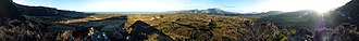 Otago Peninsula - Panorama of the view from the smaller of the two Pyramids on Otago Peninsula.