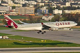 Qatar airway A330 landing at the runway 34 of Zurich airport.jpg