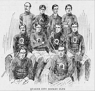 George Orton - Orton, sitting second from the right in the middle row, with the 1898–99 Quaker City Hockey Club.