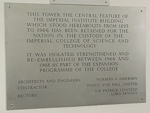 Queen's Tower, London - Plaque on the ground floor of the Tower.