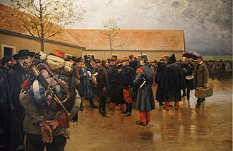 Franco-Prussian War - French reservists responding to the call, painted by Pierre-Georges Jeanniot