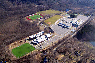 Ridgefield High School (Connecticut) - Aerial view of the school and Scotts Ridge Middle School.