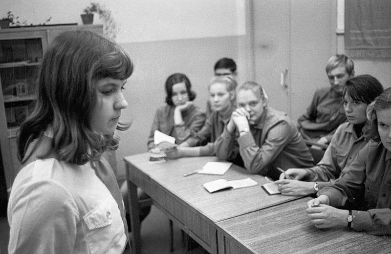 File:RIAN archive 73853 A young girl at Komsomol committee session.jpg