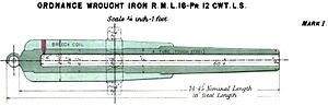 RML 16 pounder 12 cwt - RML 16 pdr 12 cwt gun barrel diagram, 1877