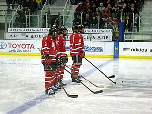 RPI Engineers men's ice hockey - The RPI starting lineup before a November 2014 game against Michigan