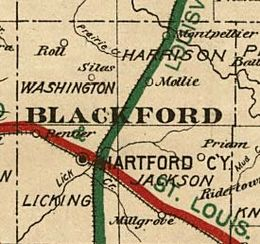 1890s railroad map showing Mollie along rail line in Blackford County