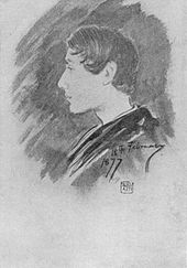 Charcoal sketch of a left-facing young man with cropped black hair.