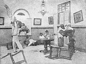 Harta Berdarah - A scene showing Rachmat fighting Mardjan's men; the actor, Zonder, was skilled in martial arts.