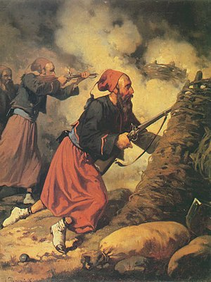 Zouave - French zouaves during the Crimean war; painting by Aleksander Raczyński (1858)