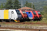 Railpool 185 704-4, ArenaWays E 483 020, SBB Cargo Re 474 009-6 and Re 484 019-5 - Domodossola, 3rd July 2011.JPG