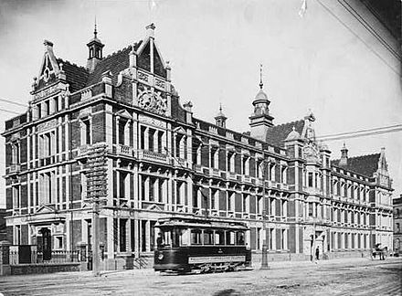 New Zealand Railways Department Head Office, Wellington, photographed circa 1905-1908 by J N Taylor. Railway HQ Wellington.jpg