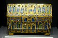 Reliquary chest, Limoges, early 1200s, enamel, gilt copper, wood - Hessisches Landesmuseum Darmstadt - Darmstadt, Germany - DSC00213.jpg
