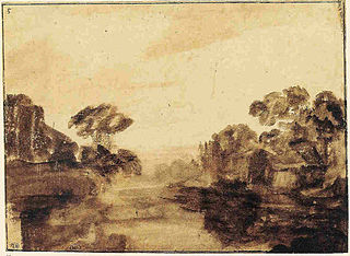 River with Trees drawing by Rembrandt
