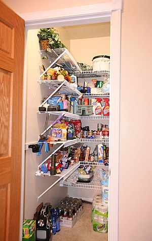 A contemporary kitchen pantry.