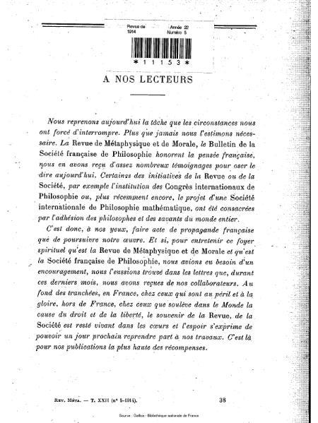 File:Revue de métaphysique et de morale, numéro 5, 1914.djvu