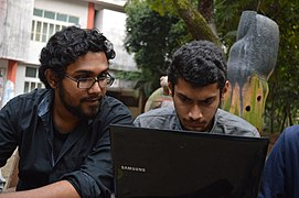 Reza Karim & Minar Mahmud at Wikipedia 15 good article edit-a-thon and adda, Chittagong 2 (01).jpg