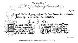 "Charles Bertram - Bertram's ""facsimile"" of the work's first page."