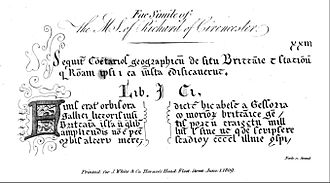 The Description of Britain - Bertram's facsimile of the first page of De Situ Britanniae, with the notes added for Hatcher's 1809 edition.