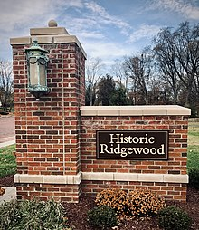Entrance to Ridgewood Historic District