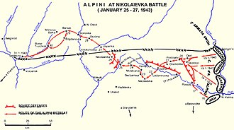 Battle of Nikolayevka - Alpini route toward Nikolaievka, from the Don river