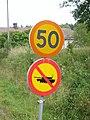 Road sign no military vehicles, Upplands-Bro kommun.jpg