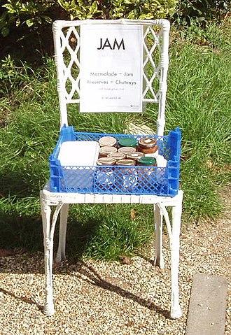 Honesty box - Selling jam jars on the roadside