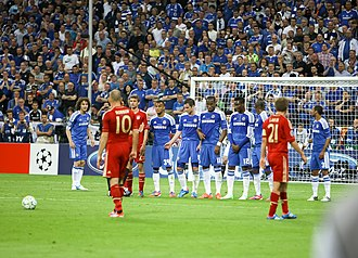Arjen Robben - Robben preparing to take a free kick during the 2012 UEFA Champions League Final.
