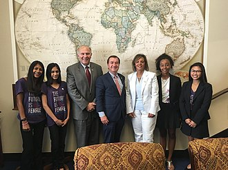 Robin Kelly - U.S. House Foreign Affairs Committee Chair Ed Royce, members Steve Chabot and Robin Kelly in 2017 celebrate legislation to help educate more girls