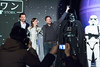 Rogue One - Actors Diego Luna and Felicity Jones and director Gareth Edwards appear at the Rogue One premiere in Japan.