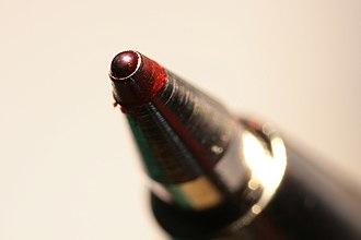 Rollerball pen - Close-up shot of a rollerball pen tip