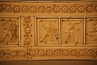 Byzantine army - A 6th century ivory relief of a Roman swordsman wearing scale armor and round shield- Berlin Bode museum.