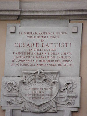 Cesare Battisti (politician) - Cesare Battisti is remembered at Via Cesare Battisti near Piazza Venezia in Rome