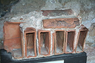 Roof tiles - Roof fragment of Roman bath in Bath, Somerset, England