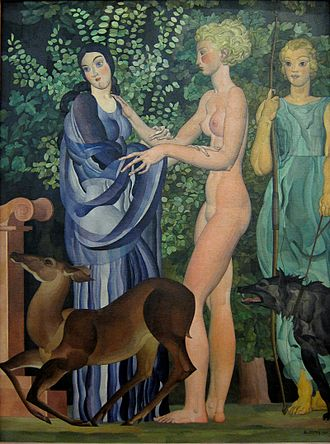 "Catalogue of Women - Louis Billotey's Iphigénie (1935) depicting Iphigenia (center) in embrace with Clytemnestra, with Artemis gazing at the girl. In Euripides' Iphigeneia in Aulis, Iphigeneia was turned into a deer to save her from being sacrificed so that the Achaean fleet could sail for Troy. In the Catalogue, the goddess saved Iphigenia (called Iphimede) and enfranchised her as ""Artemis Enodia"", or Hecate."