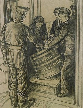 "Rum - Wrens during World War II serving rum to a sailor from a tub inscribed ""The King God Bless Him"" - Robert Sargent Austin"