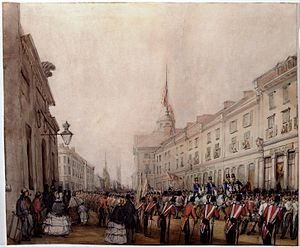 Notre-Dame Street - Funeral of General Sir Benjamin d'Urban on the Rue Notre-Dame, 1849. By James Duncan