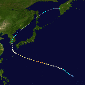 Typhoon Rusa - Track map of Typhoon Rusa's centre of circulation, based on data from the Joint Typhoon Warning Center.