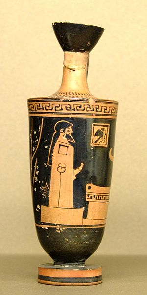 Lekythion - A small oil-flask or lēkythion, the object after which the metric pattern was named.