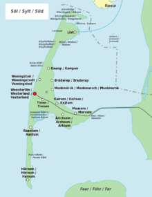 Map Of Sylt (North Frisian, German And Danish Place Names)
