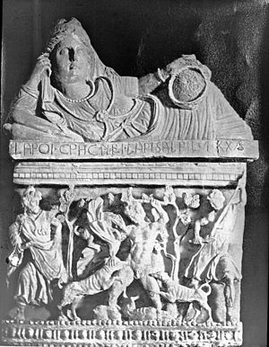Actaeon - Volterra, Italy. Etruscan cinerary urn; Actaeon torn by the dogs of Diana, Volterra. Brooklyn Museum Archives, Goodyear Archival Collection