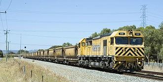 Rail transport in Western Australia - Modern S class diesel locomotive on a bauxite train at Wellard.