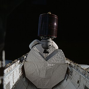 STS-5 - The SBS 3 satellite with attached PAM-D motor is deployed from Columbia