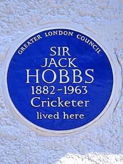 Sir jack hobbs 1882 1963 cricketer lived here