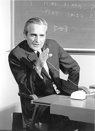 SRI International - Douglas Engelbart practicing for The Mother of All Demos in 1968