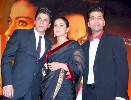 Kajol with SRK (left) and Karan Johar at a promotional event for My Name Is Khan (2010). Her performance in the film was acclaimed and she won a fifth Filmfare Award in the Best Actress category. SRK Kajol & Karan.jpg