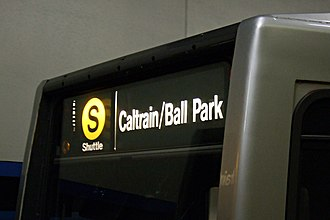 S Shuttle - S Castro Shuttle rollsign on a game-day extra train in 2007