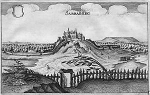 Sababurg - Sababurg, copperplate by Matthäus Merian from the Topographia Hassiae 1645
