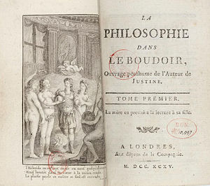 Philosophy in the Bedroom - Image: Sade Philosophie dans le boudoir, Tome I titre 1795