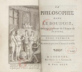 <i>Philosophy in the Bedroom</i> 1795 book by the Marquis de Sade
